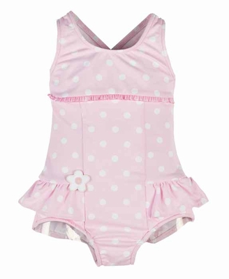 Florence Eiseman Girls Pink / White Polka Dots Ruffle One Piece Swimsuit