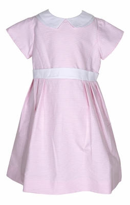 Florence Eiseman Girls Pink / White Stripe Ottoman Easter Dress - White Collar & Sash