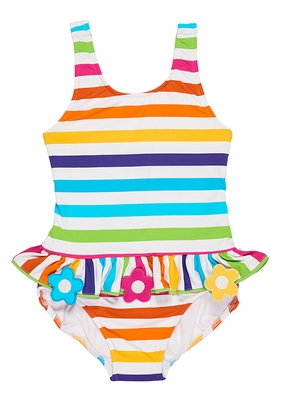 Florence Eiseman Girls Rainbow Striped Swimsuit with Ruffle