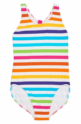 Florence Eiseman Girls Rainbow Striped Tank Swimsuit with Cut Out Back