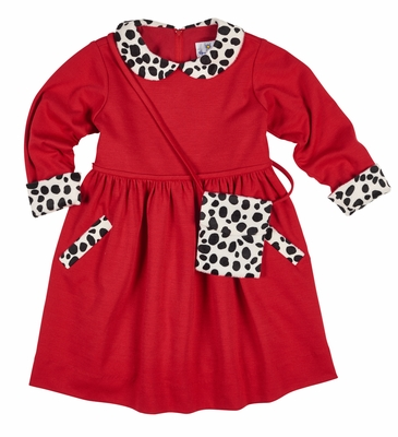 Florence Eiseman Girls Red Knit Dress - Dalmation Faux Fur Trim and Purse