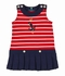 Florence Eiseman Girls Red Stripes Anchor / Navy Blue Pique Pleated Sailor Dress
