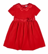 Florence Eiseman Girls Red Velvet Christmas Dress - Satin Scallop Collar and Rose