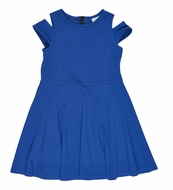 Florence Eiseman Girls Royal Blue Cold Shoulder Dress