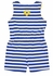 Florence Eiseman Girls Royal Blue Striped Knit Romper with Flowers