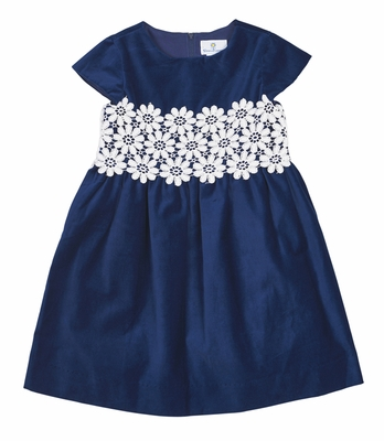 Florence Eiseman Girls Royal Blue Velvet Dress with Vintage Guipure Lace Trim