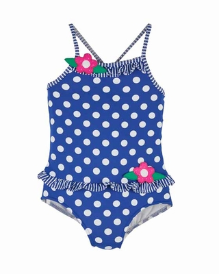 Florence Eiseman Girls Royal Blue / White Dots Swimsuit with Ruffles - One Piece