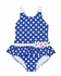 Florence Eiseman Girls Royal Blue / White Dots Ruffle Swimsuit with Daisy Flowers