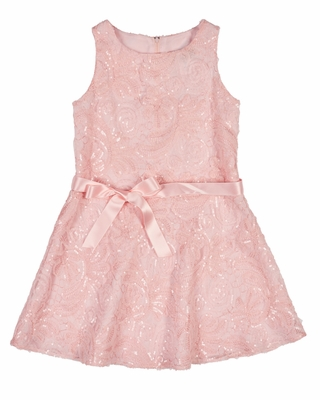 Florence Eiseman Girls Sleeveless Pink Embroidered Mesh Sequins Dress