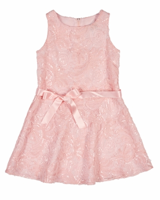 Florence Eiseman Girls Sleeveless Pink Embroidered Sequin Mesh Dress - Special Edition!