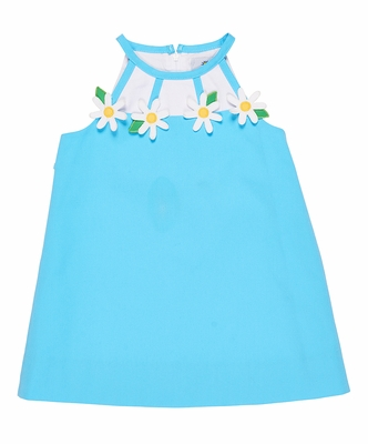 Florence Eiseman Girls Turquoise Blue Pique Dress - Special Daisy Neckline