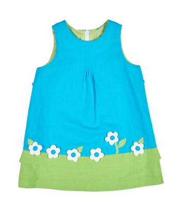 Florence Eiseman Girls Turquoise / Lime Green Linen Blend Sleeveless Dress - Limited Edition!