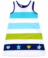 Florence Eiseman Girls White / Aqua / Green Knit Beach Dress - Starfish