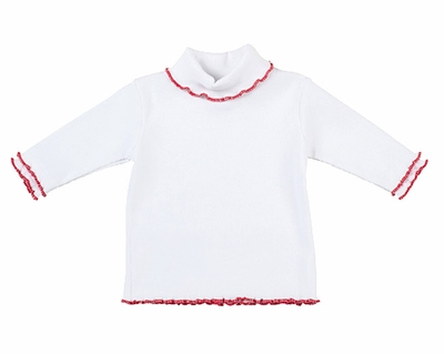Florence Eiseman Girls White Cotton Turtleneck Shirt - Red Lettuce Edge