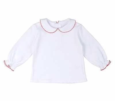 Florence Eiseman Girls White Knit Blouse - Peter Pan Collar & Long Sleeves - Red Picot Trim