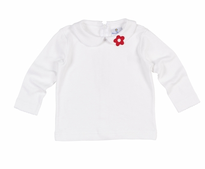 Florence Eiseman Girls White Knit Blouse with Red Flower