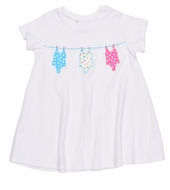 Florence Eiseman Girls White Knit Terry Cover Up - Applique Swimsuits