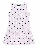 Florence Eiseman Girls White / Pink & Navy Blue Dots Dress - Bows on Back