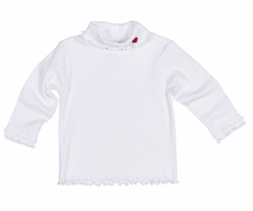 Florence Eiseman Girls White Rib Turtleneck - Lettuce Edge - Red Heart