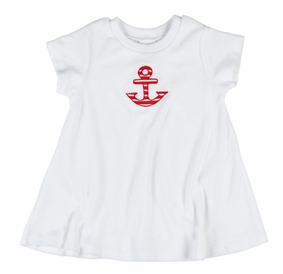 Florence Eiseman Girls White Terry Cover Up - Red Anchor