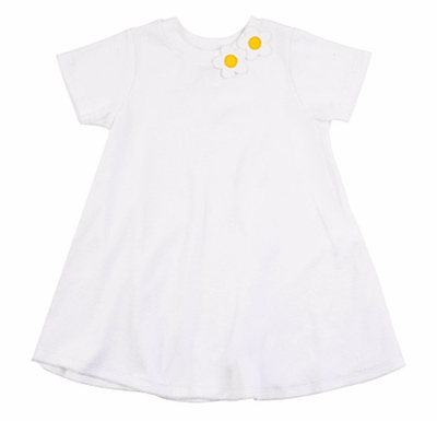 Florence Eiseman Girls White Terry Cover Up with Daisy Flowers