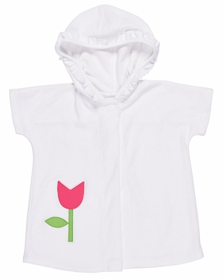 Florence Eiseman Girls White Terry Cover Up with Hood - Pink Tulip Pocket