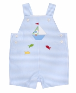 Florence Eiseman Infant Boys Blue Check Seersucker Sailboat Shortall