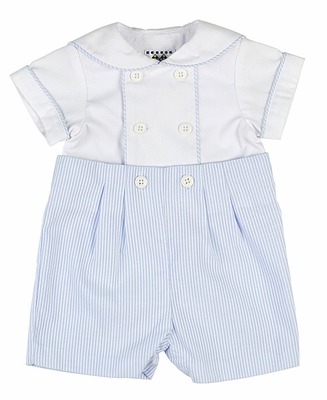 Florence Eiseman Infant Boys Blue Ottoman / White Pique Button On Suit - White Collar