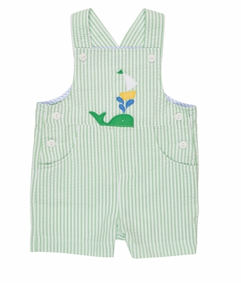 Florence Eiseman Infant Boys Green Striped Seersucker Applique Whale Shortall