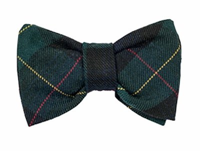 Florence Eiseman Little Boys Navy Blue / Green Plaid Clip-On Bow Tie