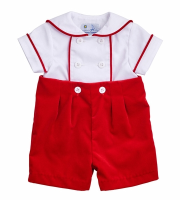 - Florence Eiseman Infant Boys Red Velvet Button On Christmas Outfit