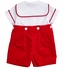 Florence Eiseman Infant Boys Red Velvet Button On Christmas Outfit