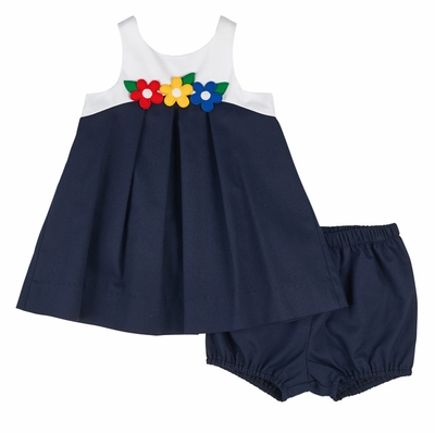 Florence Eiseman Infant Girls Navy Blue / White Pique Colorblock Top with Bloomers