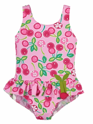 Florence Eiseman Girls Pink / Green Cherry Print Skirted Swimsuit