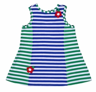 Florence Eiseman Infant Girls Royal Blue / Green Striped Sleeveless Knit Dress