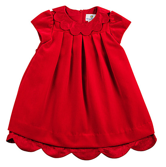 Florence Eiseman Infant Girls Ruby Red Velvet Scallop