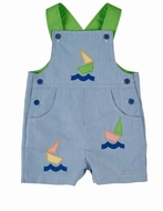 Florence Eiseman Infant / Toddler Boys Blue Junior Pincord Shortall with Boats
