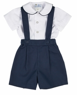 Florence Eiseman Infant / Toddler Boys Navy Blue Pique Suspender Shorts with Shirt
