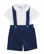 Florence Eiseman Boys Suspender Shorts Set - Royal Blue Velvet
