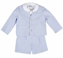 Florence Eiseman Boys Three Piece Eton Suit - Royal Blue Seersucker