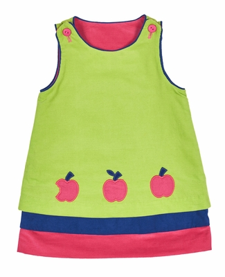Florence Eiseman Infant / Toddler Girls Reversible Corduroy Jumper Dress - Hot Pink with Cherries Reverses to Lime Green with Apples