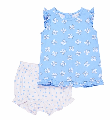 Florence Eiseman Knitwear - Baby Girls Blue Bows & Dots Bloomers Set