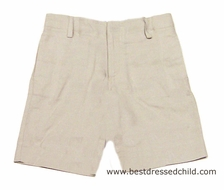 Florence Eiseman / TF Laurence Boys Beige / Tan Linen Dressy Shorts