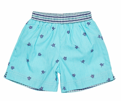 Florence Eiseman Toddler Boys Aqua Turtle Print Swim Trunks