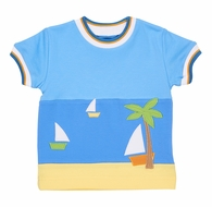 Florence Eiseman Toddler Boys Blue Shirt with Sailboat Beach Scene