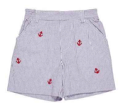Florence Eiseman Toddler Boys Navy Blue Seersucker Faux Fly Shorts - Embroidered Anchors