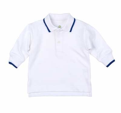 Florence Eiseman Baby / Toddler Boys White Polo Shirt - Long Sleeves - Tipped in Royal Blue