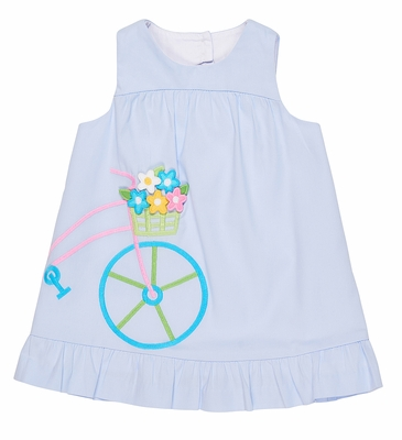 Florence Eiseman Toddler Girls Blue Pincord Dress - Bicycle and Flowers