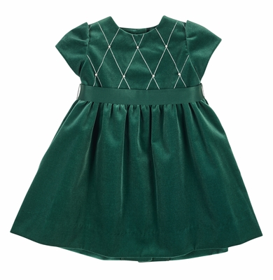 florence eiseman girls emerald green velvet christmas dress with embroidered bodice - Green Christmas Dress