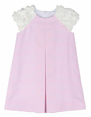 Florence Eiseman Girls Pink Striped Ottoman Easter Dress - White Flutter Trim - Dress Only